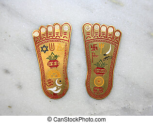 buddha feet - Buddha\'s two feet representing the...