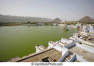 pushkar - Panorama of Pushkar ghats and lake, Rajasthan,...