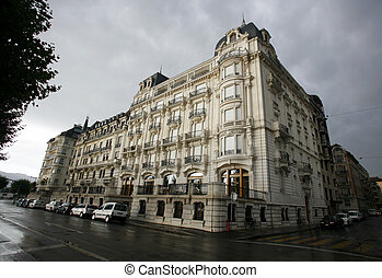 geneva - bank buiding on the lake front in geneva,...