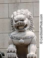 Stone lion sculpture. - Stone lion sculpture in the Chinese...