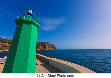 Javea Xabia green lighthouse beacon Alicante Spain - Javea...