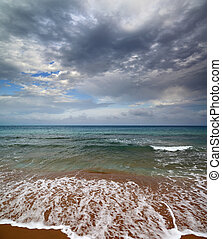 sea landscape with moody sky - dramatic sea landscape with...