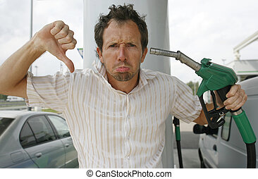 man - upset about increasing petrol prices