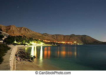 Night shot of the croatia southern coast