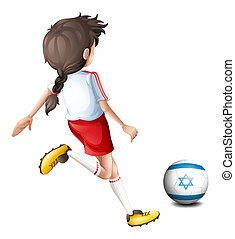 A girl playing with the flag of Israel