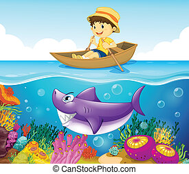 A boy in the ocean with a shark - Illustration of a boy in...