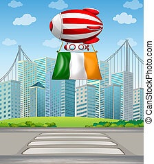 A floating balloon with the Ireland flag - Illustration of a...