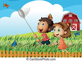 Kids catching butterflies at the field - Illustration of the...