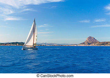 Javea sailboat sailing in Mediterranean Alicante Spain -...