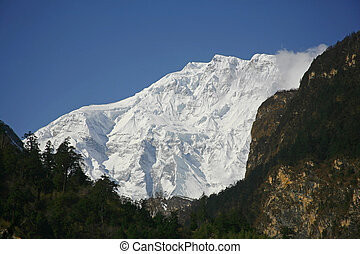 mountain - view of annapurna mountain, nepal