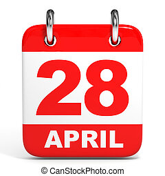 Calendar 28 April - Calendar on white background 28 April 3D...