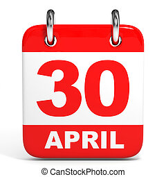 Calendar 30 April - Calendar on white background 30 April 3D...