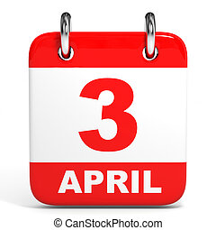 Calendar. 3 April. - Calendar on white background. 3 April....
