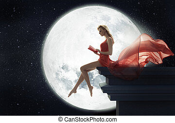 Cute woman over full moon background - Cute lady over full...