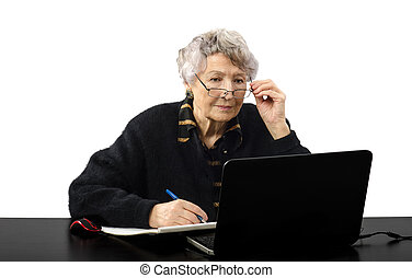 Listening to online student - Old grey haired teacher...