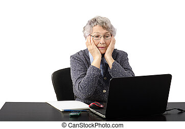 Old lady having skype conversation - Modern grey haired...