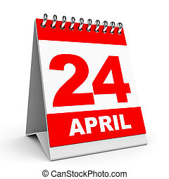 Calendar 24 April - Calendar on white background 24 April 3D...