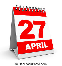 Calendar 27 April - Calendar on white background 27 April 3D...