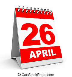 Calendar 26 April - Calendar on white background 26 April 3D...
