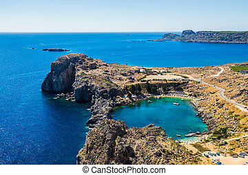 Aerial View at Saint Paul Bay from Lindos Rhodes island,...