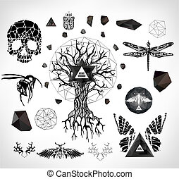 Abstract gothic sacral illustration with polygon, crystal...