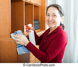 woman cleaning furniture with cleanser and rag - Happy...
