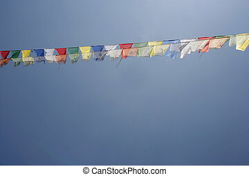 flags - Buddhist praying flags, annapurna, nepal