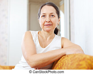 Portrait of  tranquil beauty mature woman