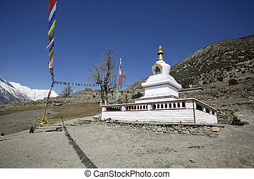 stupa - Buddhist monastery, annapurna, nepal