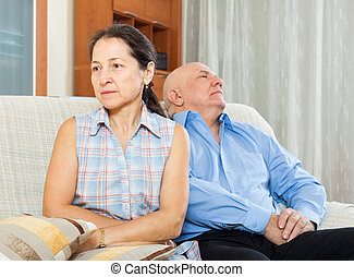 Family quarrel Mature woman having conflict with senior man...