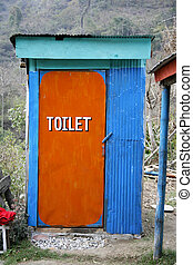 toilet - coulourful outside toilet on annapurna circuit,...