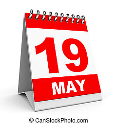 Calendar. 19 May. - Calendar on white background. 19 May. 3D...