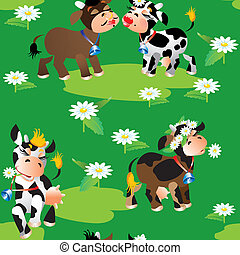 Seamless pattern with cute cartoon cows on green background...