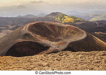 Etna, volcan, Cratères, Sicile, Italie