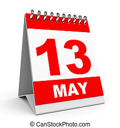 Calendar 13 May - Calendar on white background 13 May 3D...