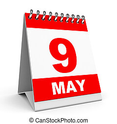 Calendar. 9 May. - Calendar on white background. 9 May. 3D...