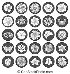 Set of abstract flat flowers Vector illustration