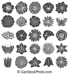Set of abstract flat flowers. Vector illustration