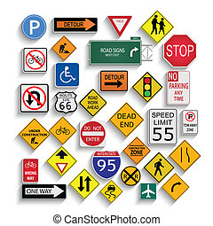 Road Signs - Illustration of varioius road signs isolated on...
