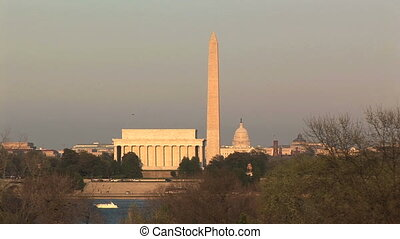 U.S. Capitol, Washington Monument, & Lincoln Memorial - Line...