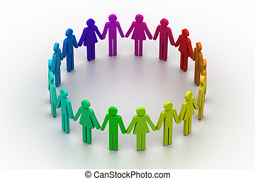 3d people create a circle Team work concept