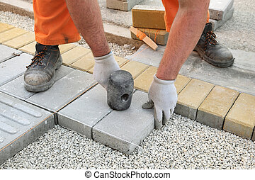construção, local, tijolo, paver
