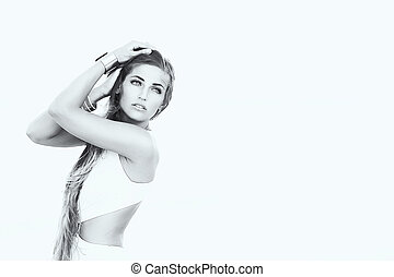 beauty woman with beauty long brown hair. in Black & White