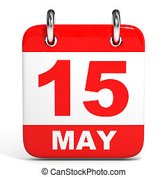 Calendar. 15 May. - Calendar on white background. 15 May. 3D...