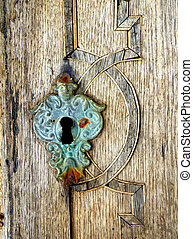 Old keyhole - Closeup macro detail of old keyhole Mediaeval...