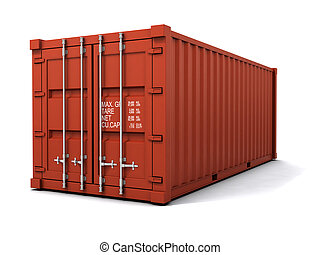 3d Red shipping container - 3d render of a red shipping...