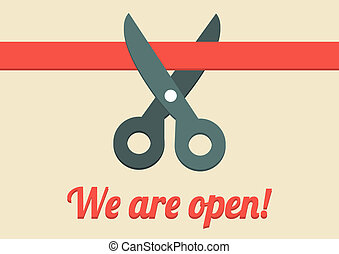 We are open illustration - Flat illustration of scissors...
