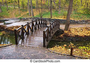Bridge in autumn park - Autumn landscape. Bridge in park....