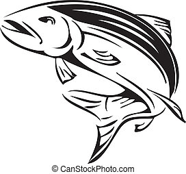 Symbol salmon - Salmon rivers symbol of Alaska Vector...