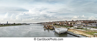Belgrade Cloudy Panorama With Branko's Bridge, Ship Winter...
